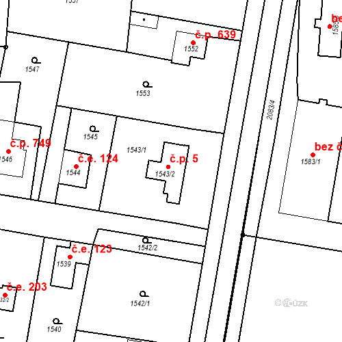 Katastrální mapa Stavební objekt Sadská 5, Sadská