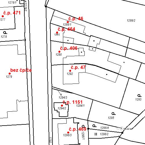 Katastrální mapa Stavební objekt Sadská 47, Sadská