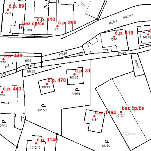 Katastrální mapa Stavební objekt Sadská 31, Sadská