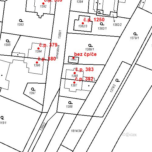 Katastrální mapa Stavební objekt Kosmonosy 383, Kosmonosy