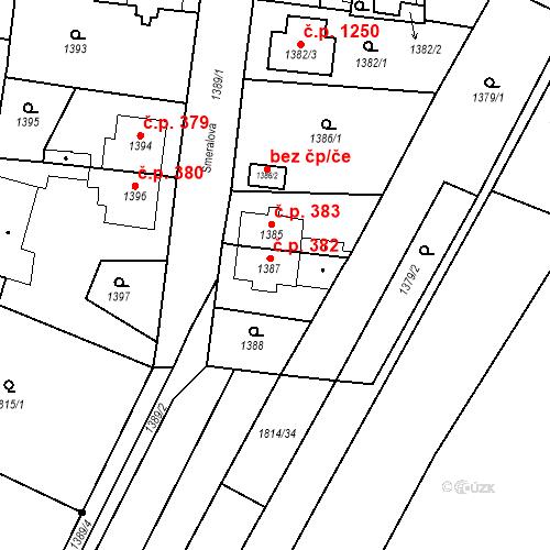 Katastrální mapa Stavební objekt Kosmonosy 382, Kosmonosy