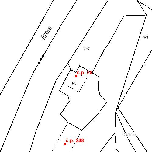 Katastrální mapa Stavební objekt Bradlec 20, Bradlec