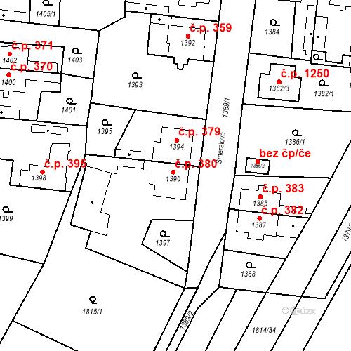 Katastrální mapa Stavební objekt Kosmonosy 380, Kosmonosy