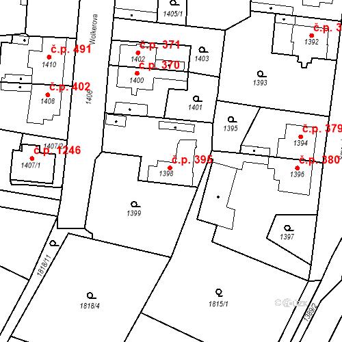 Katastrální mapa Stavební objekt Kosmonosy 395, Kosmonosy