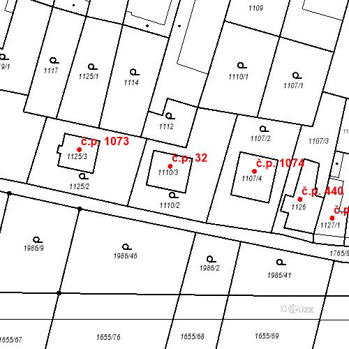 Katastrální mapa Stavební objekt Sadská 32, Sadská
