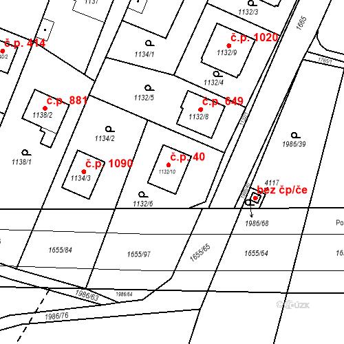 Katastrální mapa Stavební objekt Sadská 40, Sadská