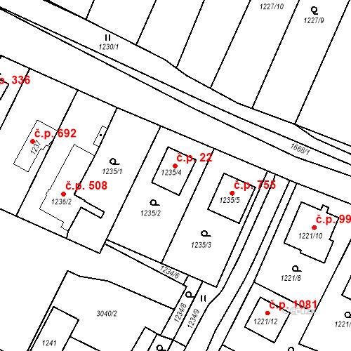 Katastrální mapa Stavební objekt Sadská 22, Sadská
