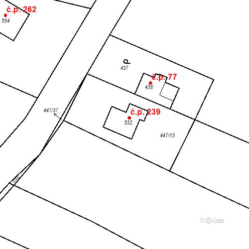 Katastrální mapa Stavební objekt Tatce 239, Tatce