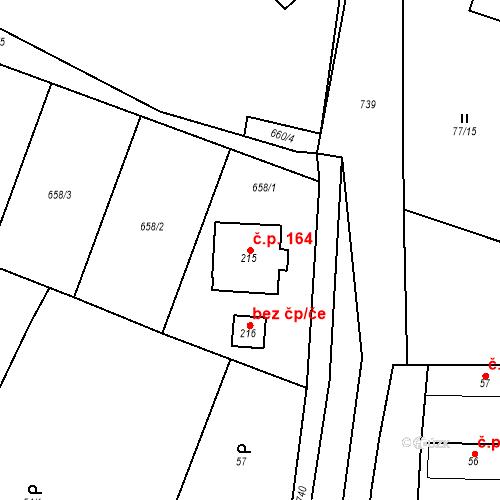 Katastrální mapa Stavební objekt Nepřevázka 164, Nepřevázka