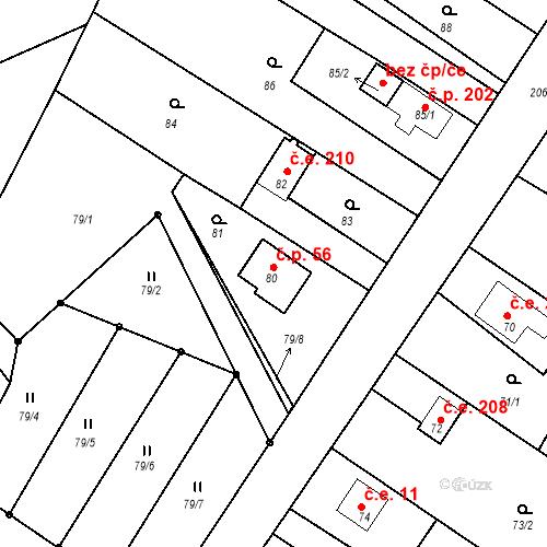 Katastrální mapa Stavební objekt Doubrava 56, Kostomlátky