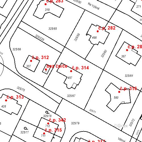 Katastrální mapa Stavební objekt Bradlec 314, Bradlec