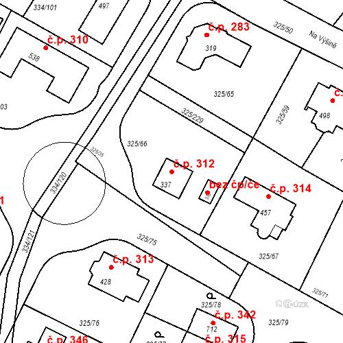 Katastrální mapa Stavební objekt Bradlec 312, Bradlec