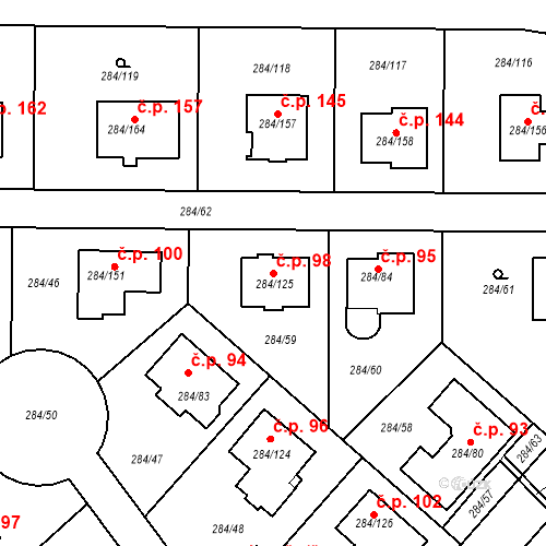 Katastrální mapa Stavební objekt Bezděčín 98, Mladá Boleslav