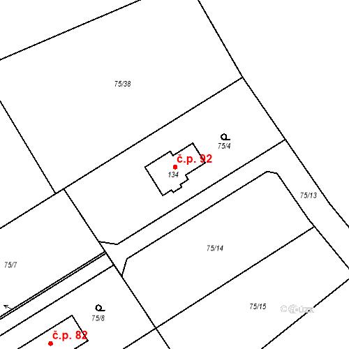 Katastrální mapa Stavební objekt Strašnov 92, Strašnov