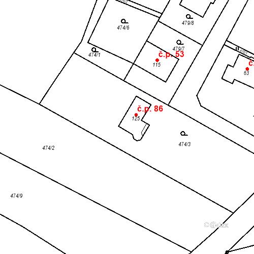 Katastrální mapa Stavební objekt Strašnov 86, Strašnov