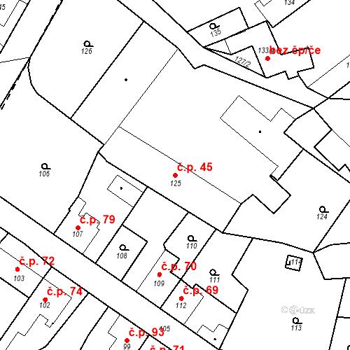 Katastrální mapa Stavební objekt Vinec 45, Vinec