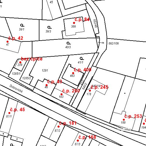 Katastrální mapa Stavební objekt Brodce 400, Brodce
