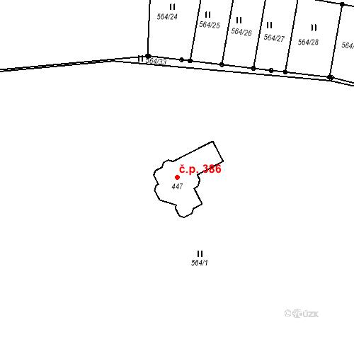 Katastrální mapa Stavební objekt Brodce 386, Brodce