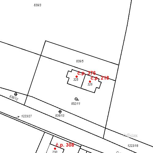 Katastrální mapa Stavební objekt Brodce 376, Brodce