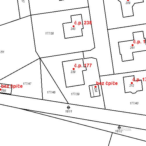 Katastrální mapa Stavební objekt Horky nad Jizerou 177, Horky nad Jizerou