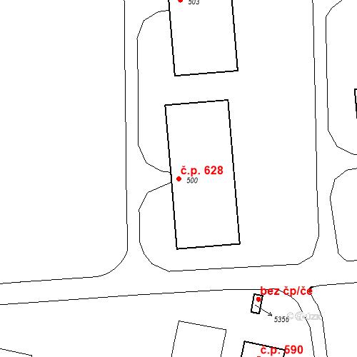 Katastrální mapa Stavební objekt Mladá 628, Milovice