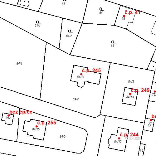 Katastrální mapa Stavební objekt Liblice 245, Český Brod