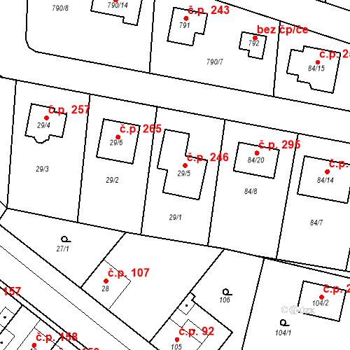 Katastrální mapa Stavební objekt Liblice 246, Český Brod