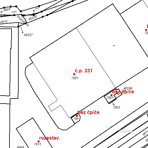 Katastrální mapa Stavební objekt Liblice 231, Český Brod