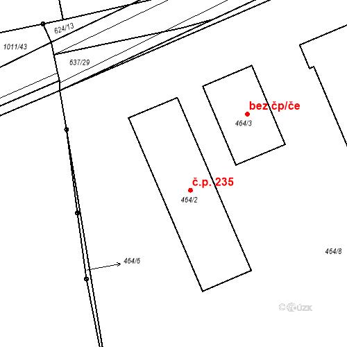 Katastrální mapa Stavební objekt Liblice 235, Český Brod