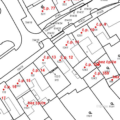 Katastrální mapa Stavební objekt Benátky nad Jizerou I 12, Benátky nad Jizerou