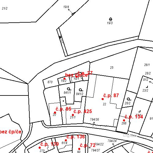 Katastrální mapa Stavební objekt Benátky nad Jizerou I 27, Benátky nad Jizerou