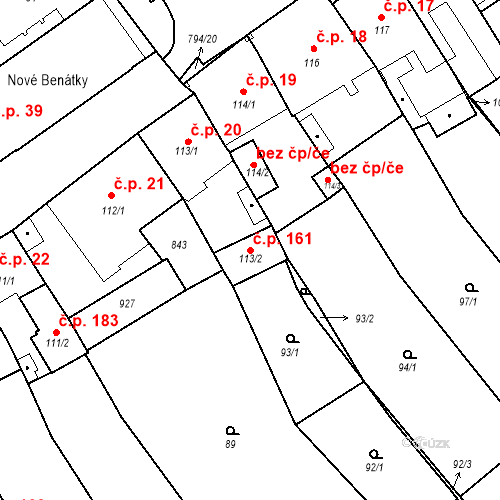 Katastrální mapa Stavební objekt Benátky nad Jizerou I 161, Benátky nad Jizerou