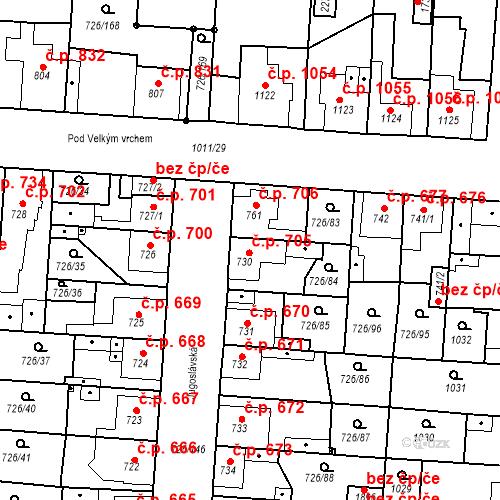 Katastrální mapa Stavební objekt Český Brod 705, Český Brod