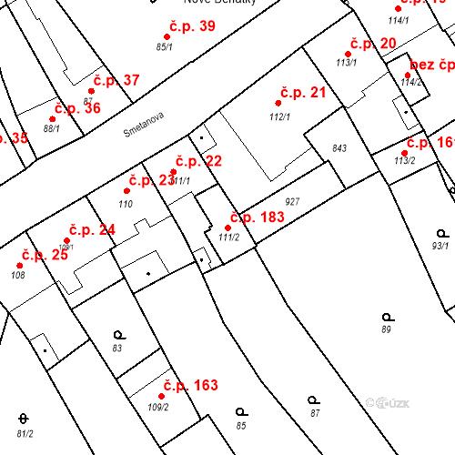 Katastrální mapa Stavební objekt Benátky nad Jizerou I 183, Benátky nad Jizerou