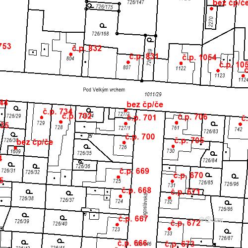 Katastrální mapa Stavební objekt Český Brod 701, Český Brod