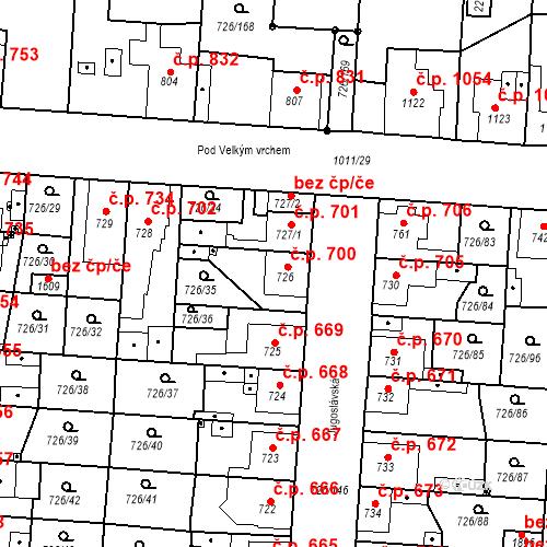 Katastrální mapa Stavební objekt Český Brod 700, Český Brod