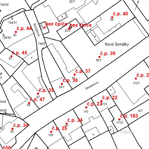 Katastrální mapa Stavební objekt Benátky nad Jizerou I 37, Benátky nad Jizerou