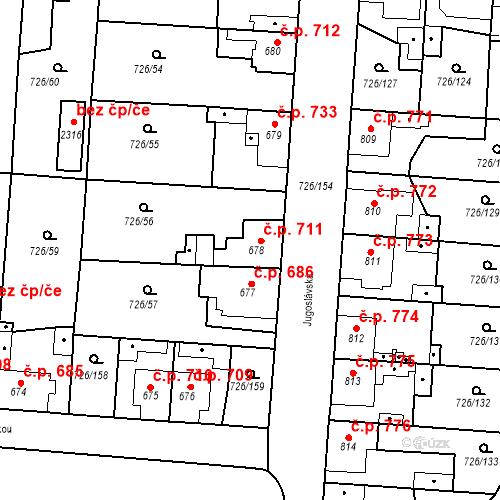 Katastrální mapa Stavební objekt Český Brod 711, Český Brod