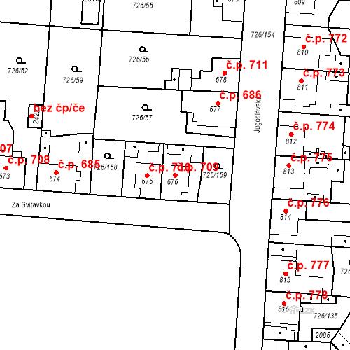 Katastrální mapa Stavební objekt Český Brod 709, Český Brod