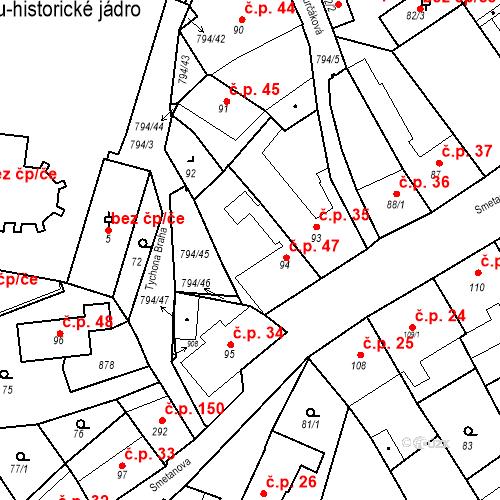 Katastrální mapa Stavební objekt Benátky nad Jizerou I 47, Benátky nad Jizerou