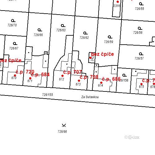 Katastrální mapa Stavební objekt Český Brod 708, Český Brod
