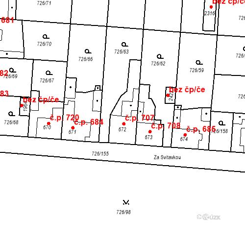 Katastrální mapa Stavební objekt Český Brod 707, Český Brod