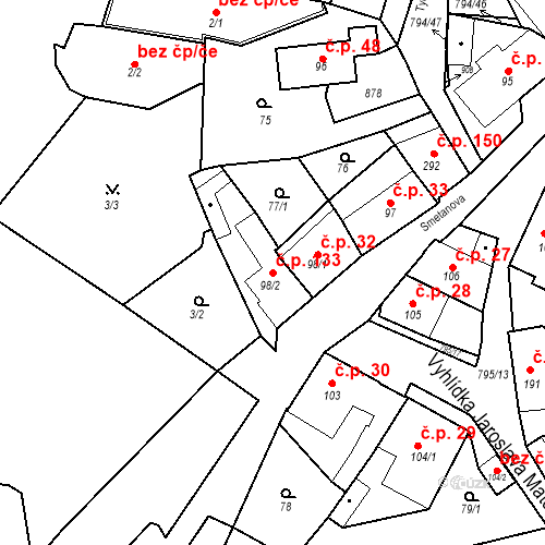 Katastrální mapa Stavební objekt Benátky nad Jizerou I 133, Benátky nad Jizerou