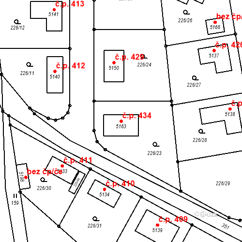 Katastrální mapa Stavební objekt Jiřice 434, Jiřice