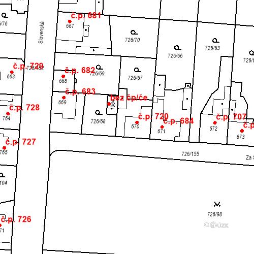 Katastrální mapa Stavební objekt Český Brod 720, Český Brod