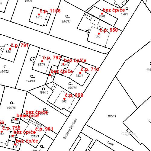 Katastrální mapa Stavební objekt Český Brod 714, Český Brod