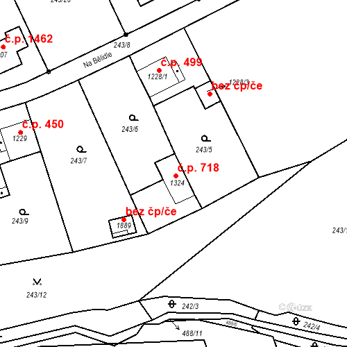Katastrální mapa Stavební objekt Český Brod 718, Český Brod
