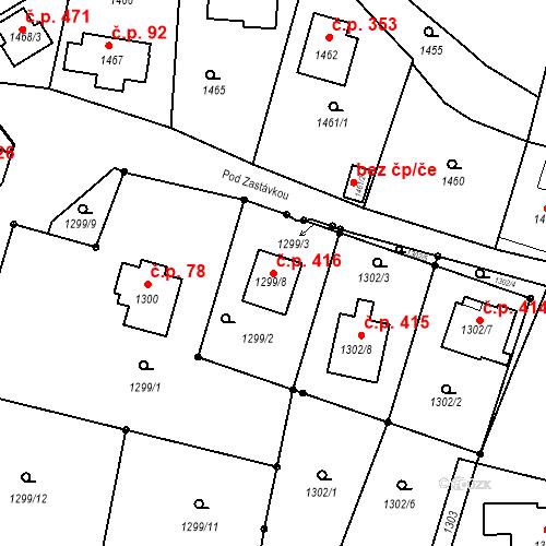 Katastrální mapa Stavební objekt Sázava 416, Sázava