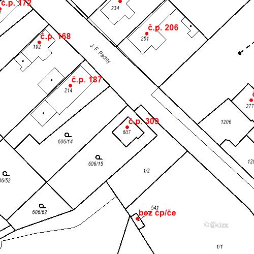 Katastrální mapa Stavební objekt Bezno 309, Bezno
