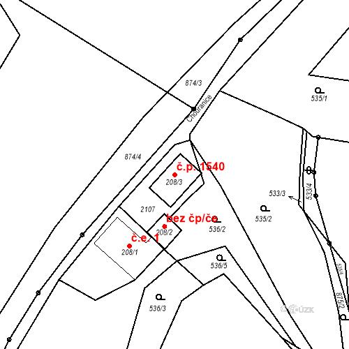 Katastrální mapa Stavební objekt Český Brod 1540, Český Brod